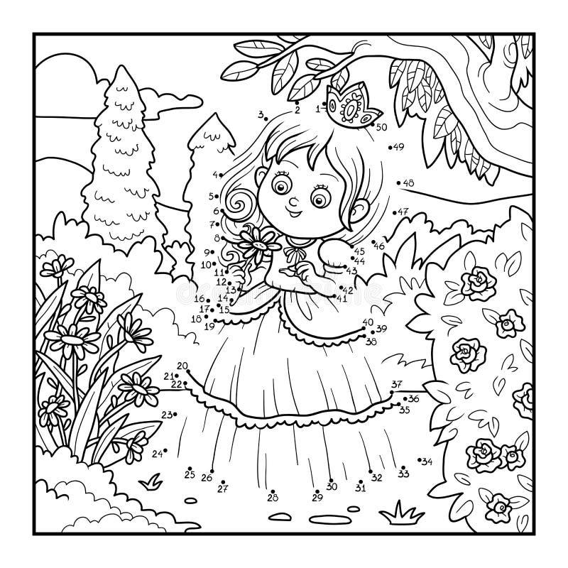 Aantallenspel voor kinderen, weinig prinses met een bloem royalty-vrije illustratie