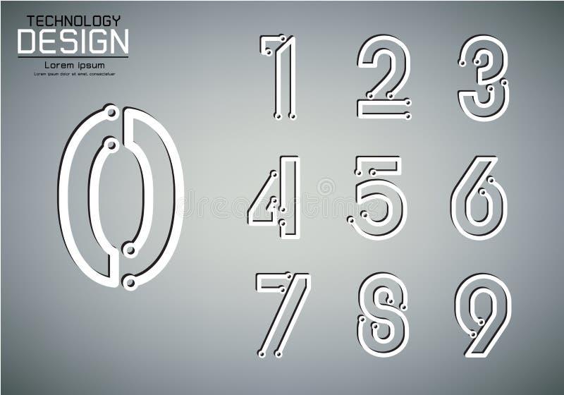Aantalreeks van de lampconcept van de aantallentechnologie vector illustratie