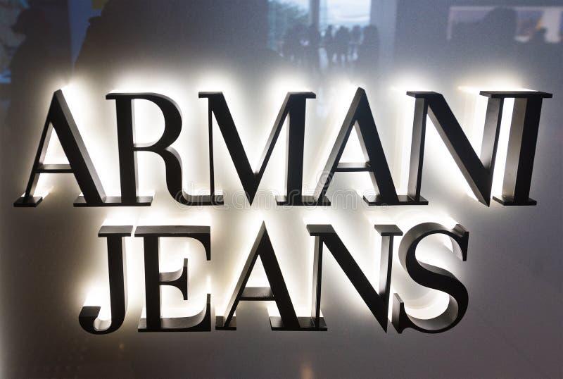 Aantekening van de Armani Jeans winkel in IFC Mall, Hongkong stock foto