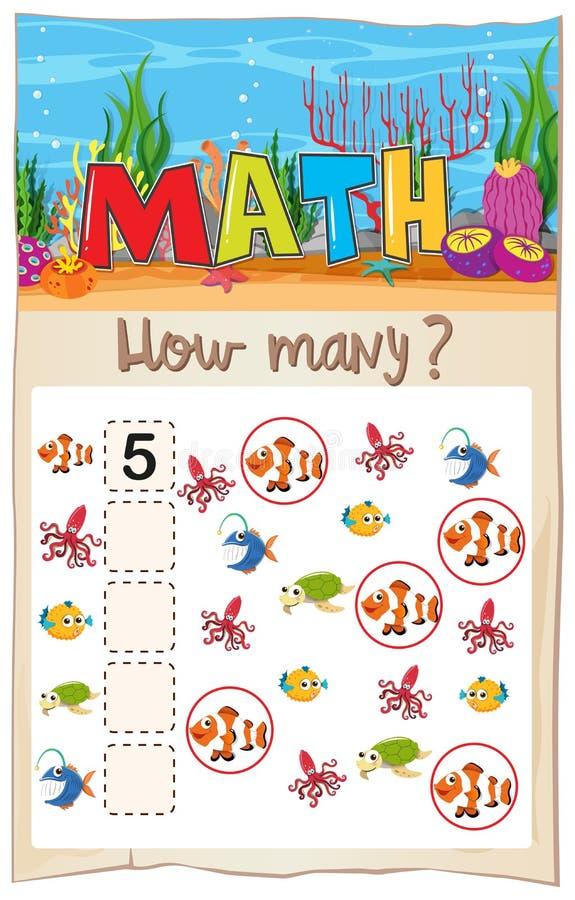 Aantekenvel van wiskunde het tellende vissen vector illustratie