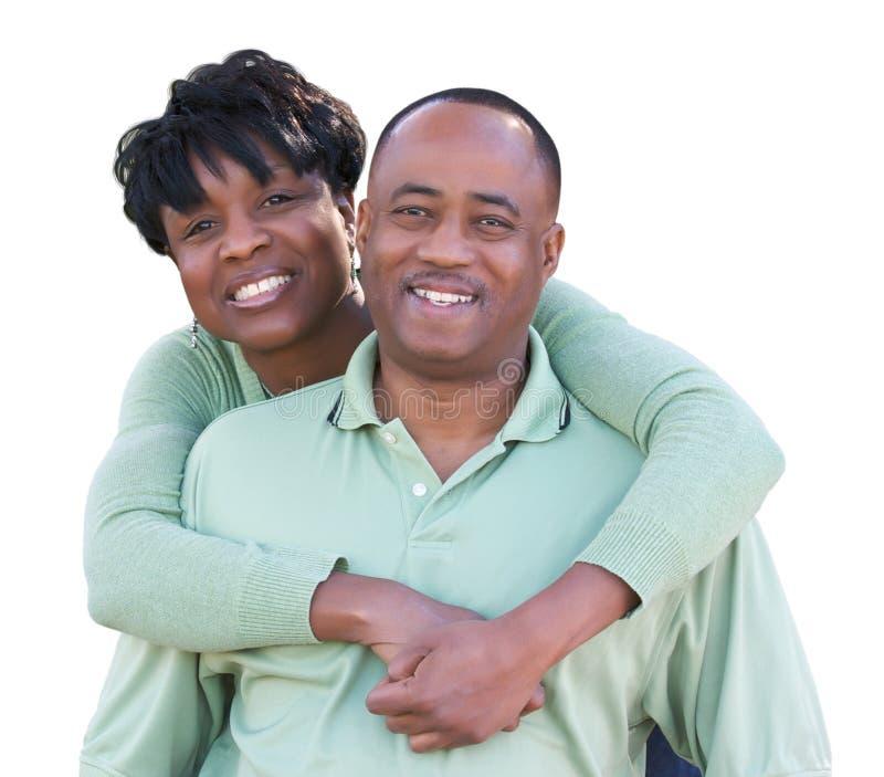 Aantrekkelijk Afrikaans Amerikaans die Paar op een Witte Achtergrond wordt geïsoleerd royalty-vrije stock fotografie