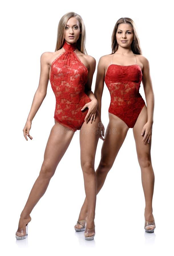 Aantrekkelijk atletisch meisje twee royalty-vrije stock fotografie