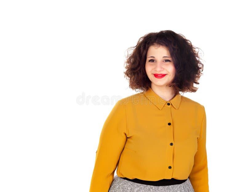 Aantrekkelijk curvy meisje met rode lippen stock foto