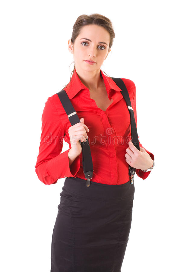 Aantrekkelijk geïsoleerd wijfje in rode overhemd en steunen, stock foto's