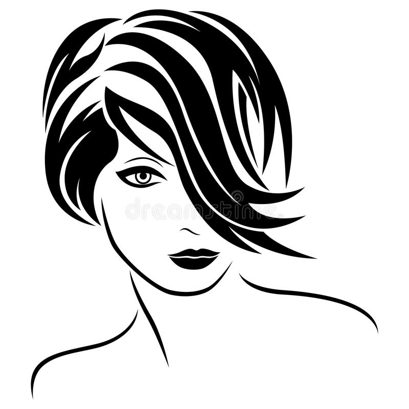 Aantrekkelijk glamour jong meisje met modieus haar stock illustratie