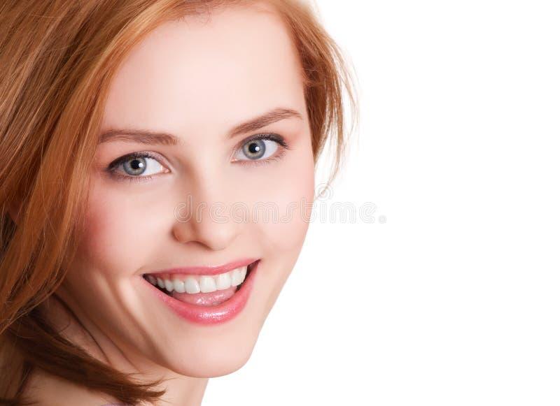 Aantrekkelijk het glimlachen vrouwenportret stock afbeeldingen