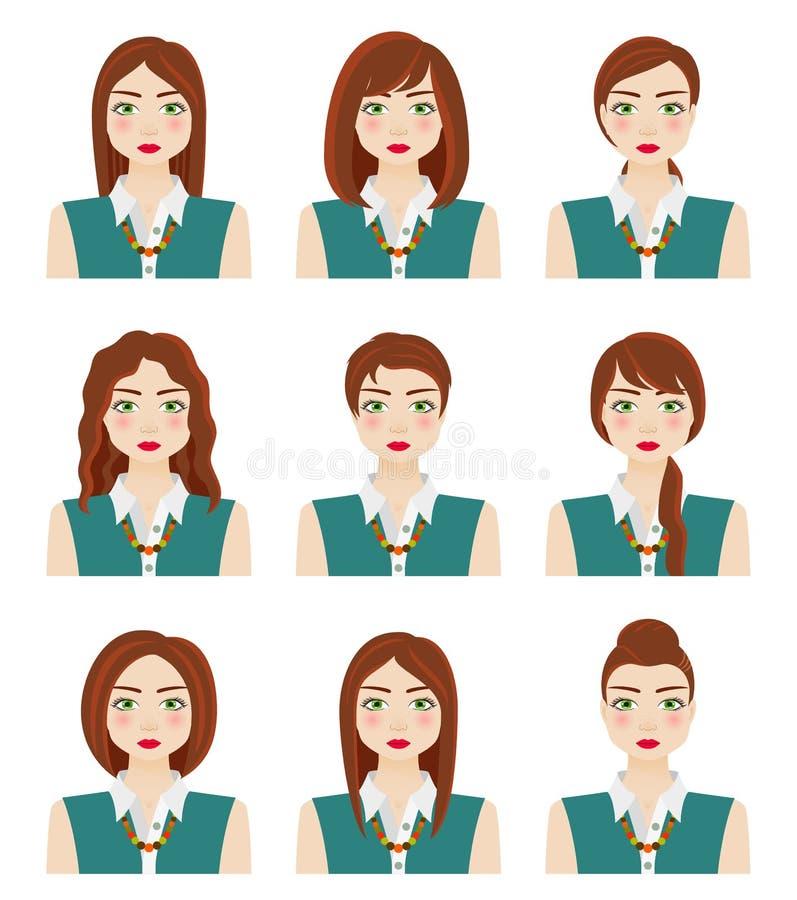 Aantrekkelijk jong meisje met verschillende kapsels Bruin haar, groene ogen en sproeten De vrouw van de herfst Mooie vrouw die in vector illustratie
