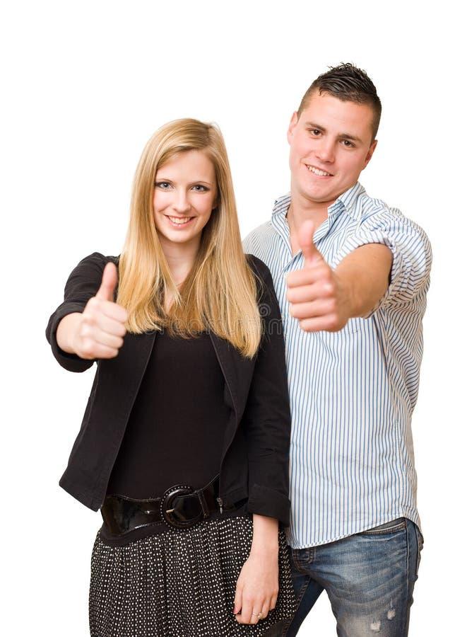 Aantrekkelijk jong studentenpaar. royalty-vrije stock afbeeldingen