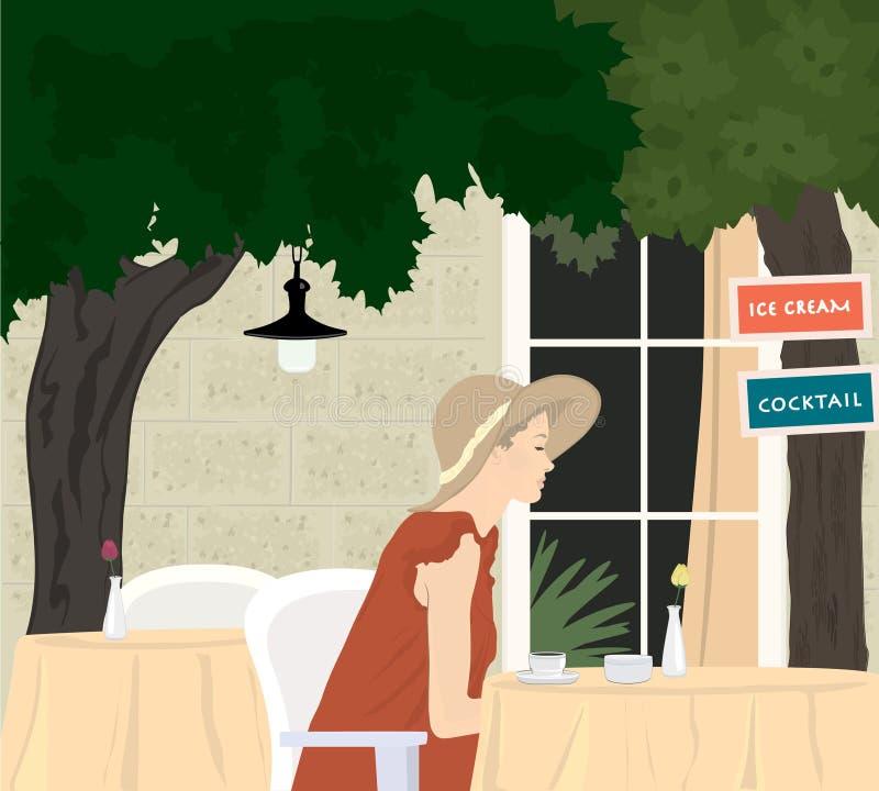 Aantrekkelijk meisje bij straatkoffie vector illustratie
