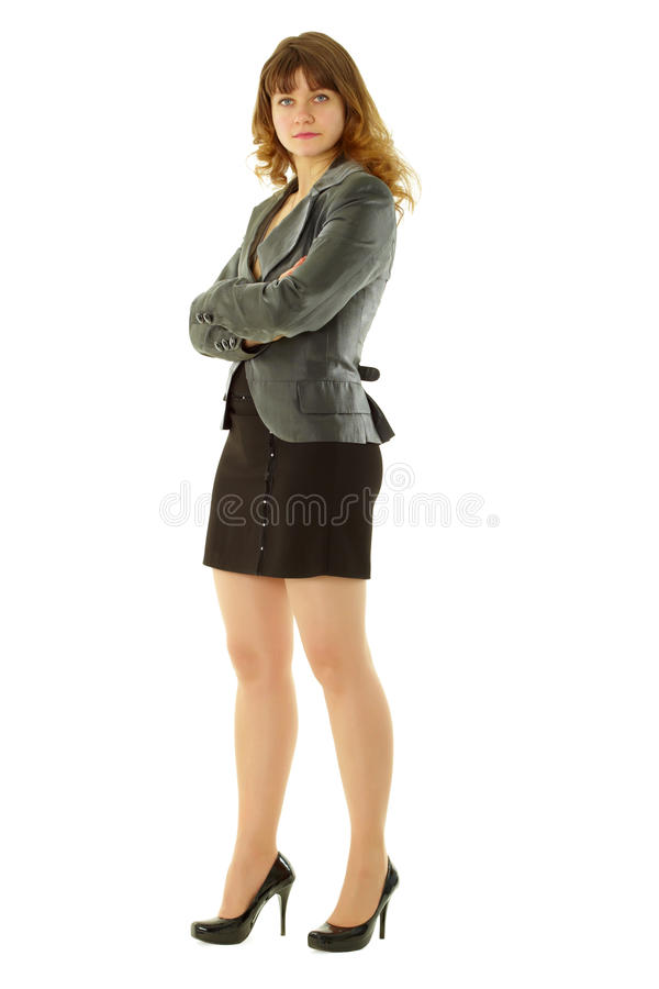 Aantrekkelijk meisje dat zich op een witte achtergrond bevindt stock foto's