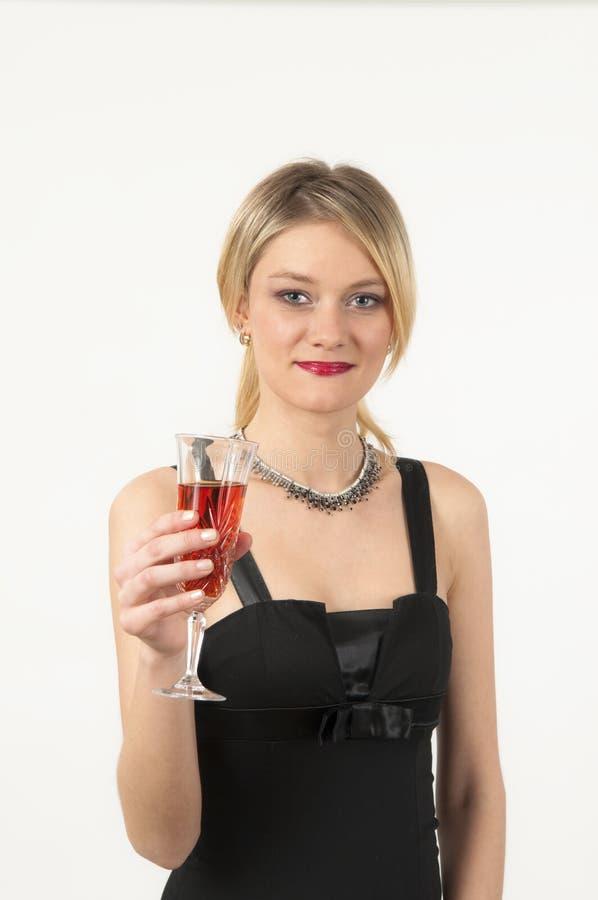 Aantrekkelijk meisje met glas wijn stock afbeeldingen