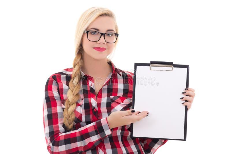 Aantrekkelijk schoolmeisje die in oogglazen lege spatie in haar h houden stock foto