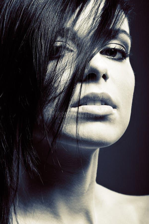 Aantrekkelijk vrouwengezicht, vrouwelijk modelportret stock foto's