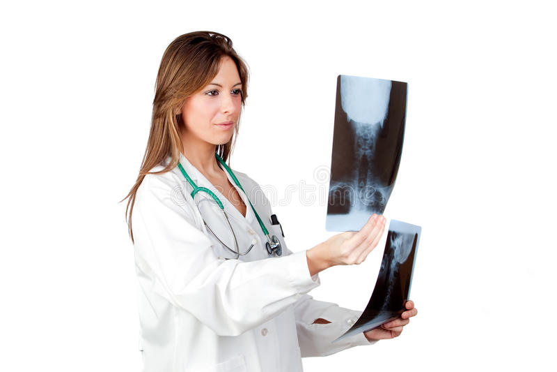 Aantrekkelijke arts met röntgenfoto's royalty-vrije stock afbeeldingen