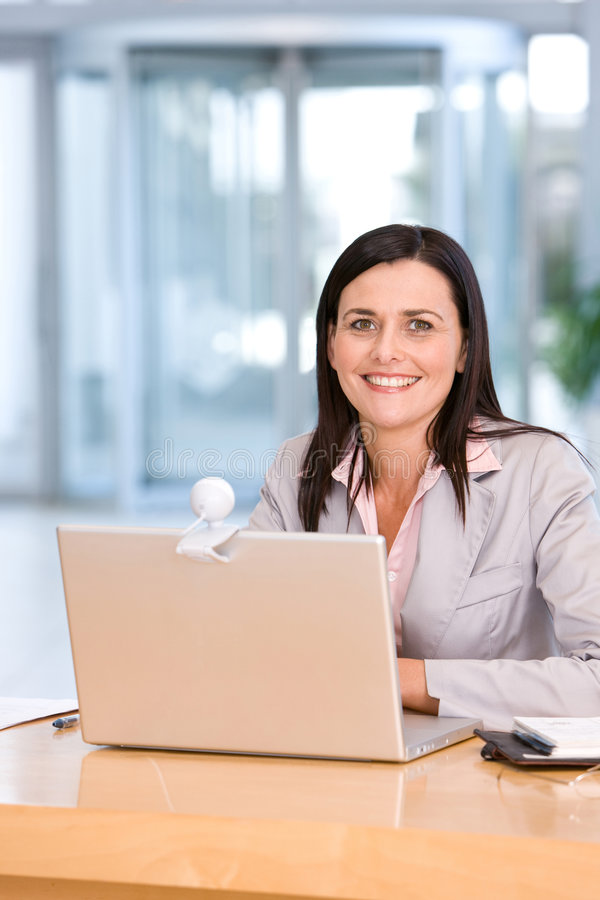 Aantrekkelijke bedrijfsvrouw die aan laptop werkt stock fotografie
