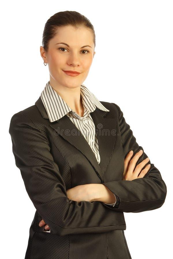 Aantrekkelijke bedrijfsvrouw. Geïsoleerdl op wit royalty-vrije stock foto