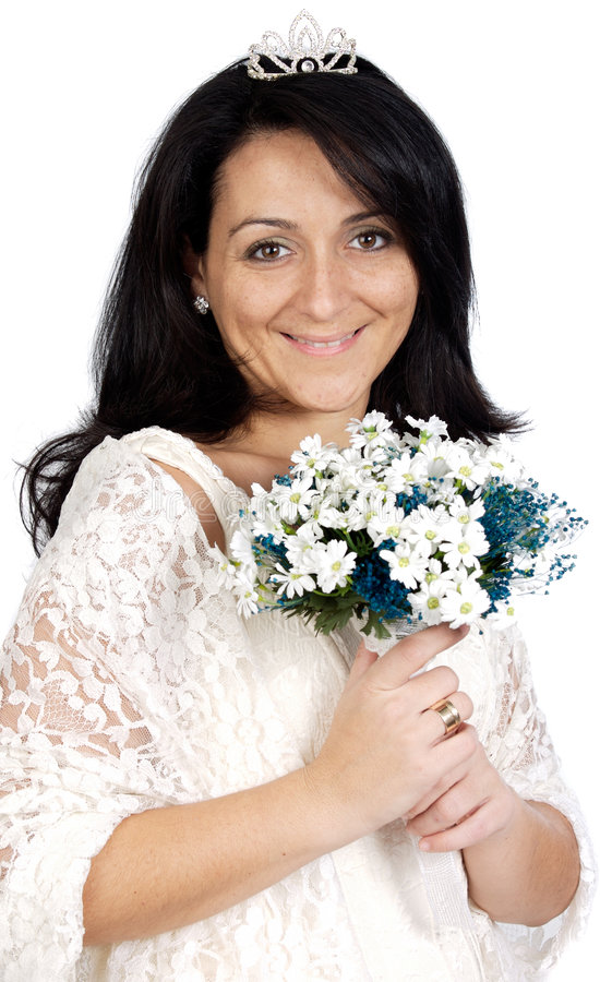 Aantrekkelijke bruid die witte kleding draagt royalty-vrije stock afbeelding