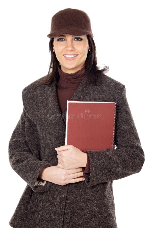 Aantrekkelijke damestudent met boek stock fotografie