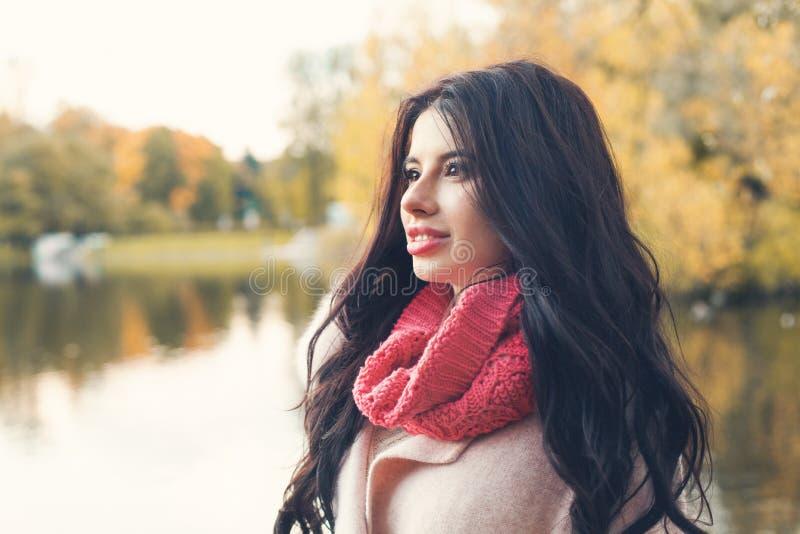 Aantrekkelijke de herfstvrouw op de achtergrond van het dalingspark stock foto's