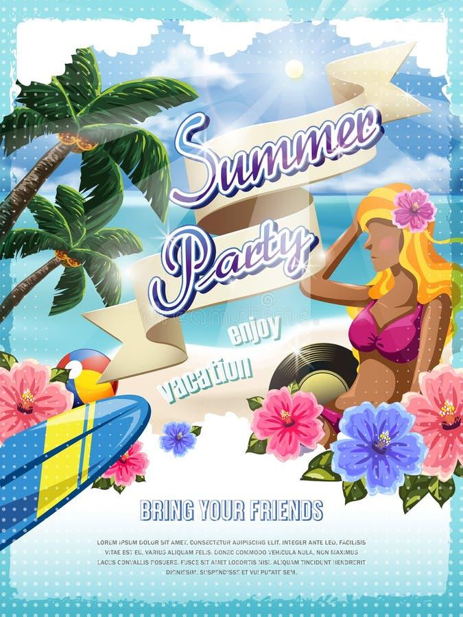 Aantrekkelijke de partijaffiche van het de zomerstrand stock illustratie