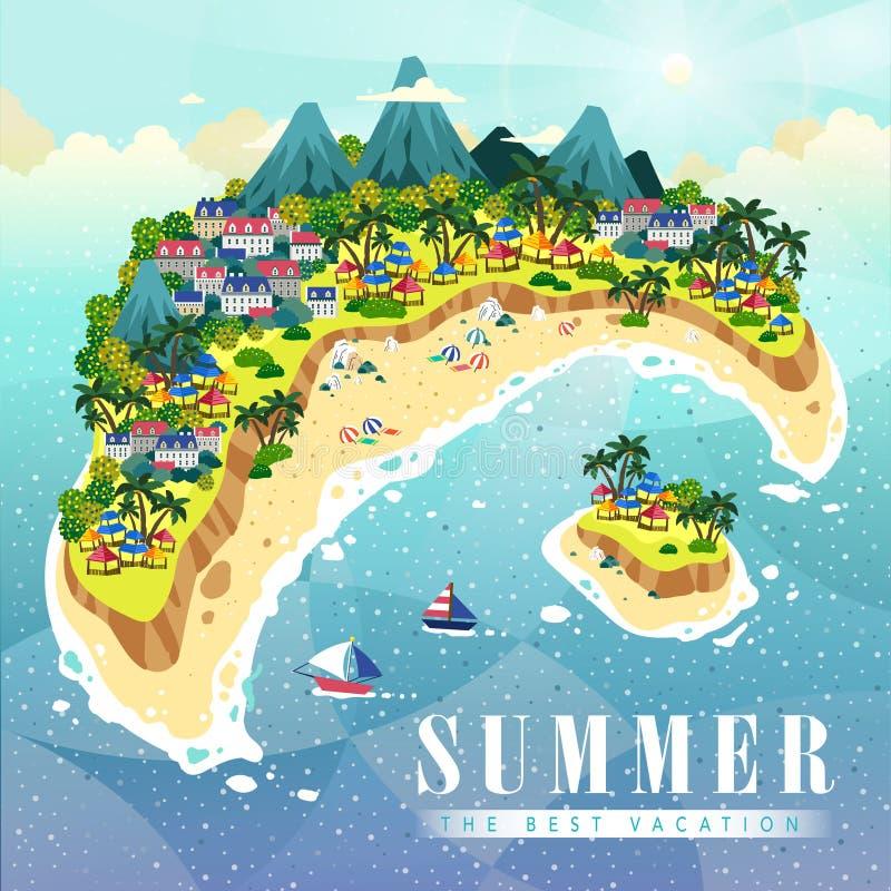 Aantrekkelijke de zomeraffiche royalty-vrije illustratie