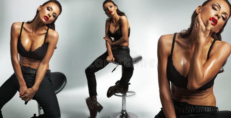 Aantrekkelijke en sexy donkerbruine vrouw stock fotografie