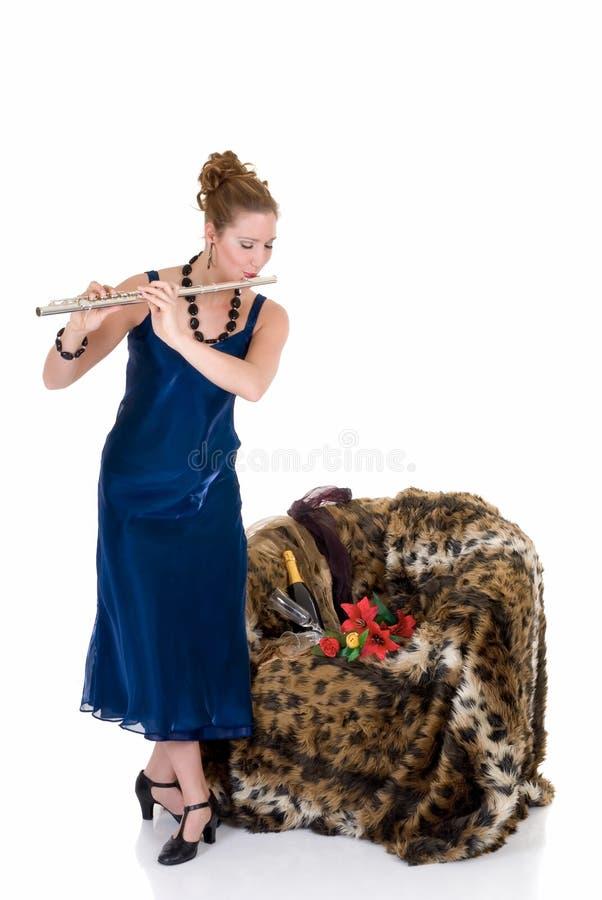 Aantrekkelijke fluitist stock afbeelding