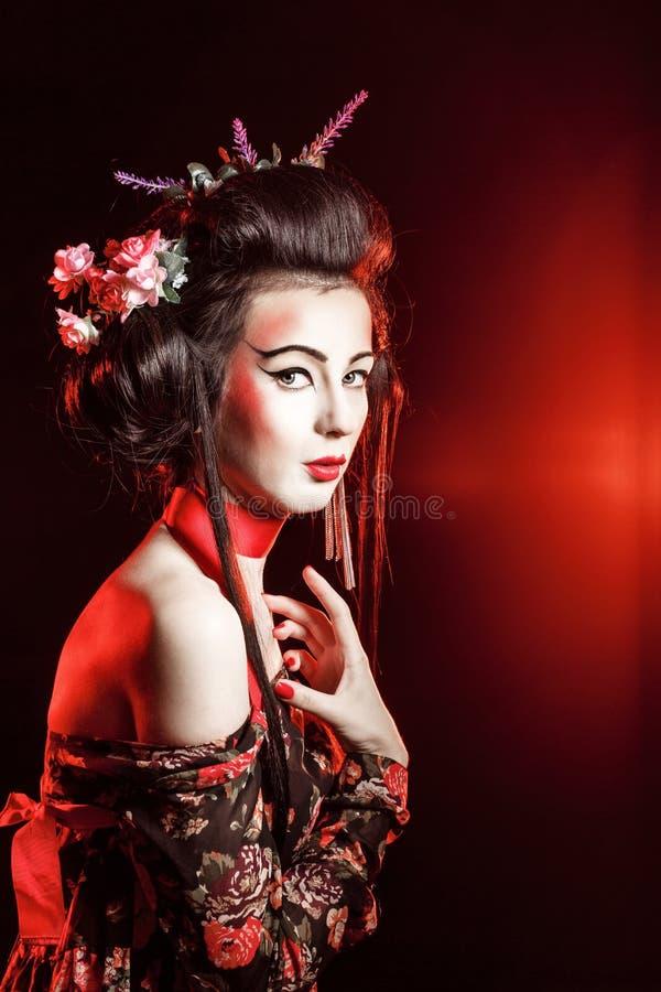 Aantrekkelijke geisha stock fotografie