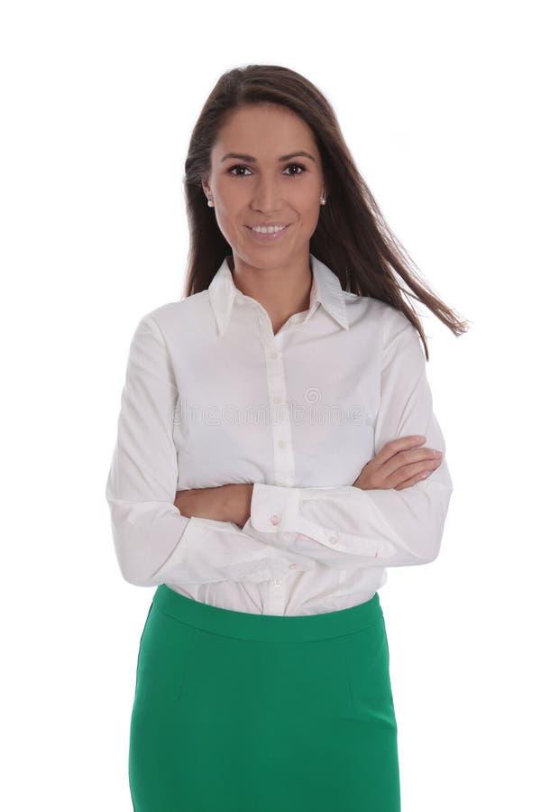 Aantrekkelijke glimlachende bedrijfsdievrouw over wit wordt geïsoleerd royalty-vrije stock foto