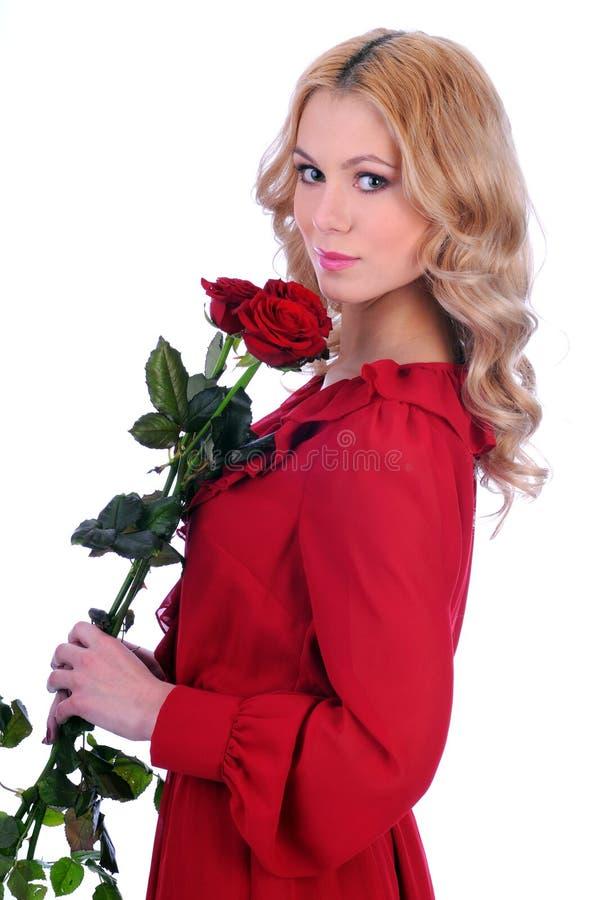 Aantrekkelijke glimlachende vrouw stock afbeeldingen