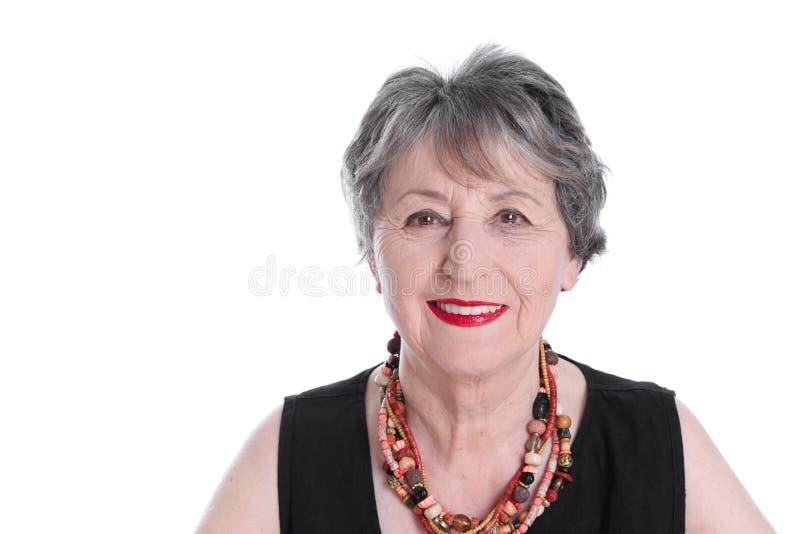 Aantrekkelijke hogere dame - oudere die vrouw op witte backgroun wordt geïsoleerd royalty-vrije stock afbeeldingen