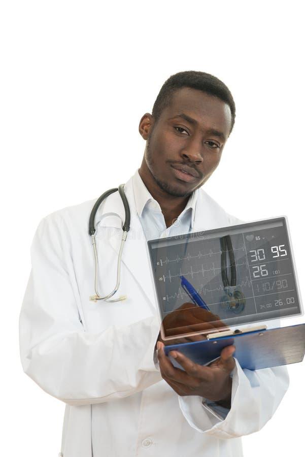 Aantrekkelijke jonge Afrikaanse Amerikaanse zwarte arts a over witte achtergrond royalty-vrije stock fotografie