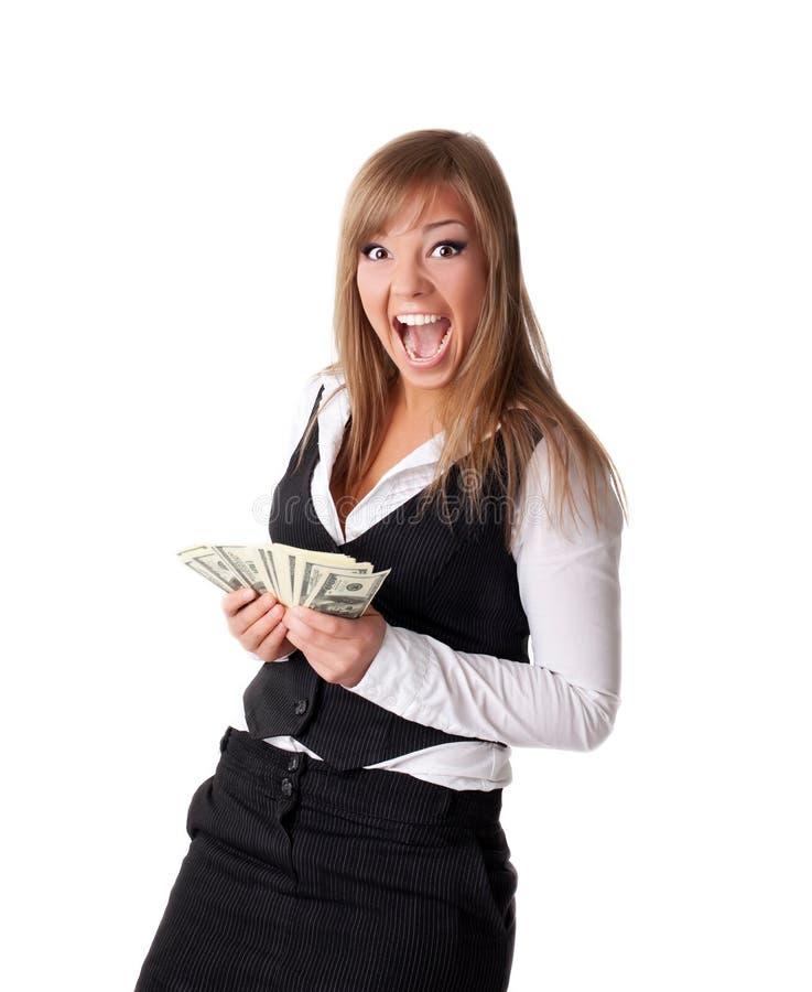 Aantrekkelijke jonge bedrijfsvrouw gelukkig met geld royalty-vrije stock afbeelding