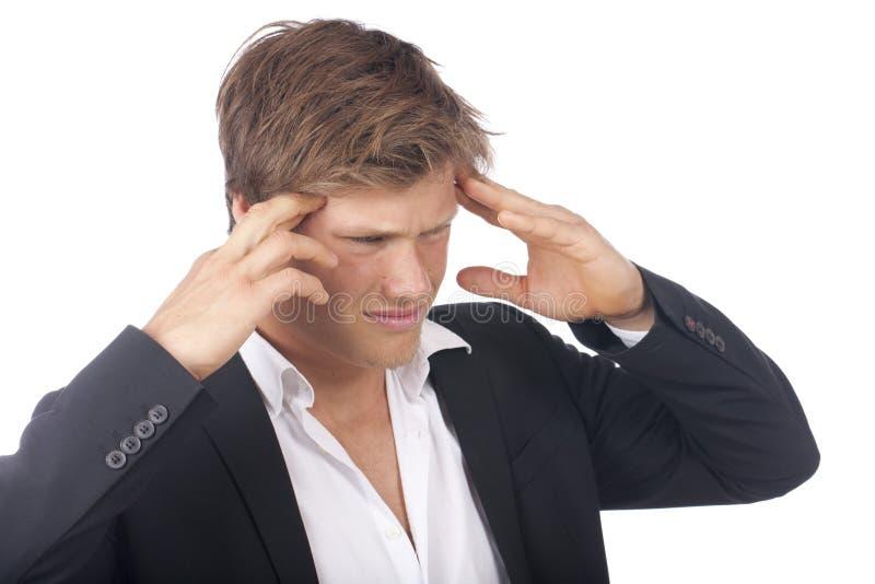 Aantrekkelijke jonge mens met hoofdpijn royalty-vrije stock foto's