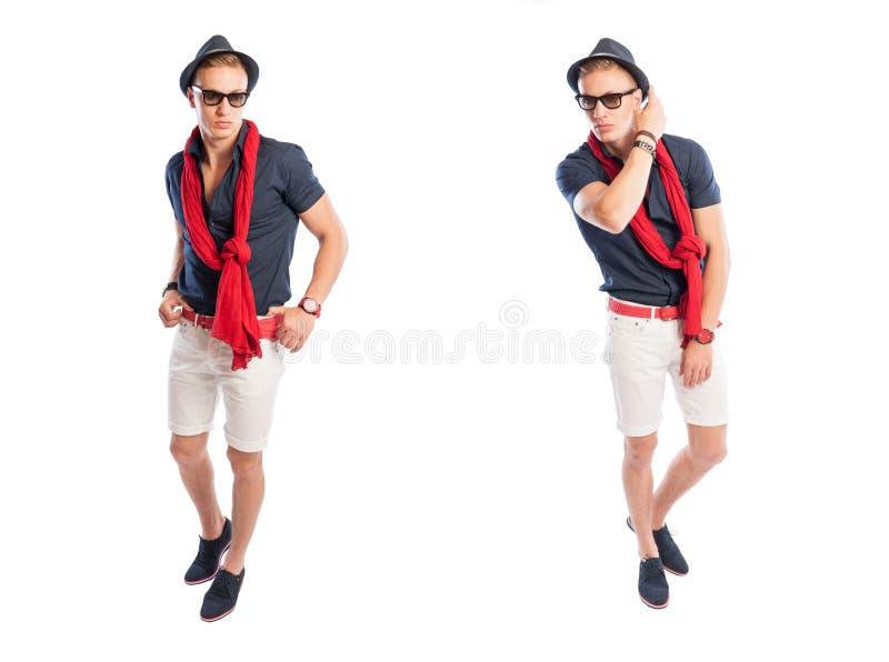 Aantrekkelijke jonge mens met modieuze uitrusting stock fotografie