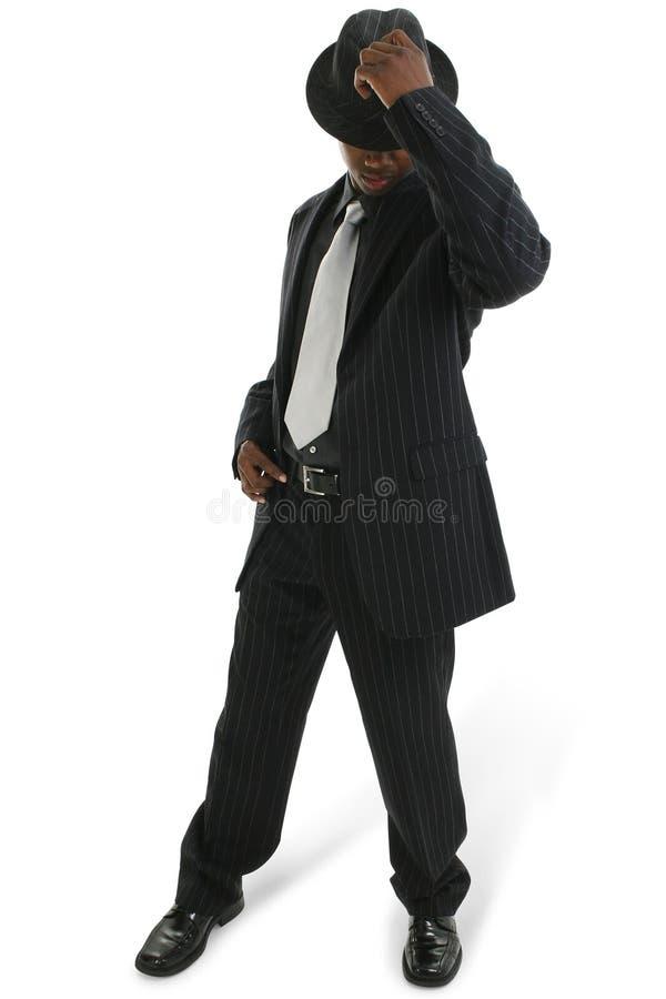 Aantrekkelijke Jonge Mens in speld-Gestreepte Kostuum en Hoed stock foto's