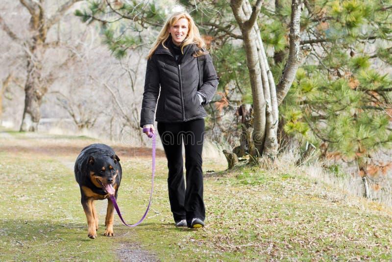 Vrouw die de hond lopen stock afbeelding