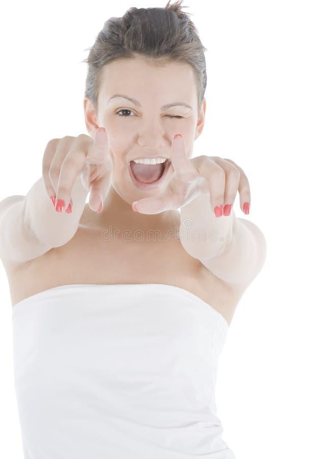 Aantrekkelijke jonge vrouw die haar vinger richt royalty-vrije stock afbeeldingen