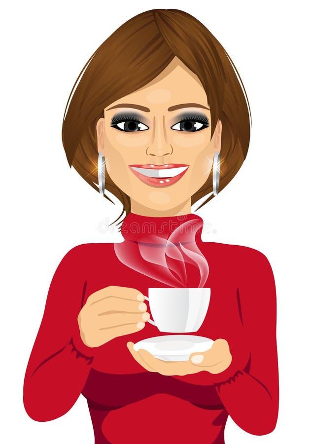 Aantrekkelijke Jonge Vrouw het Drinken Koffie stock illustratie