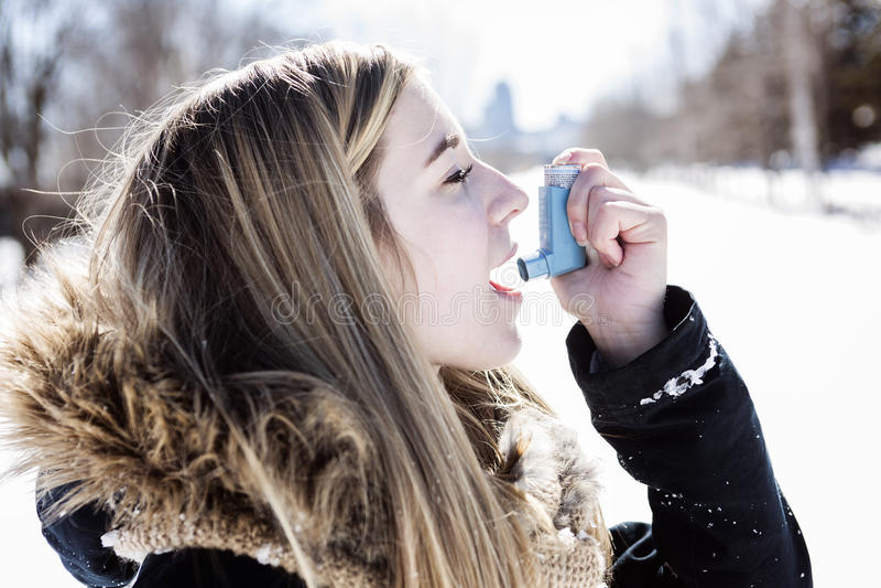 Aantrekkelijke jonge vrouw in wintertijd openlucht stock afbeelding