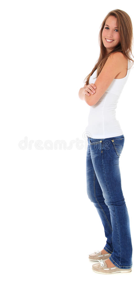 Aantrekkelijke jonge vrouw in zijaanzicht stock afbeelding