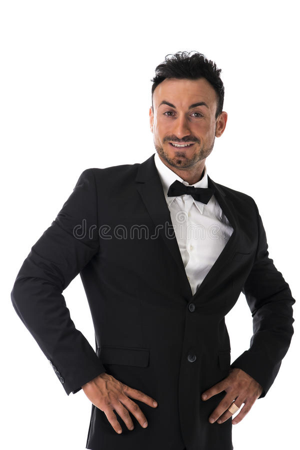 Aantrekkelijke jonge zakenman met kostuum en bowtie royalty-vrije stock foto's