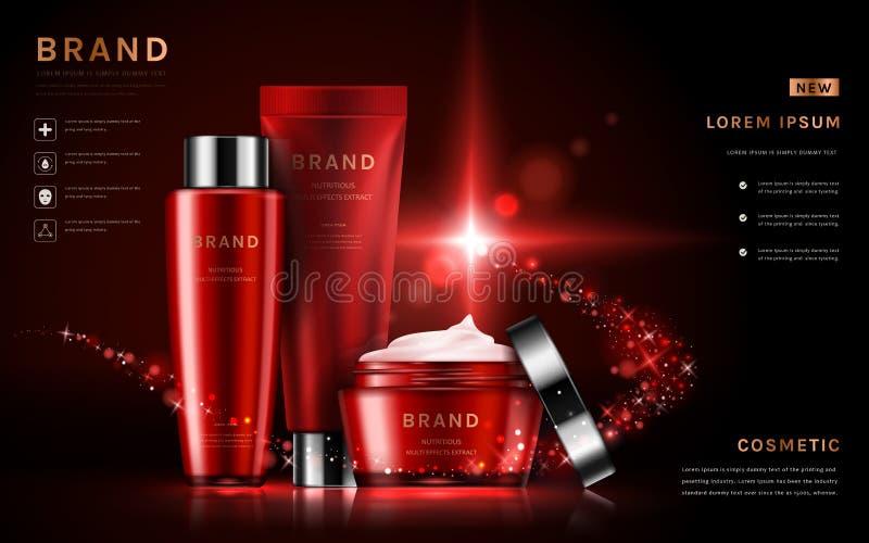 Aantrekkelijke kosmetische vastgestelde advertenties stock illustratie