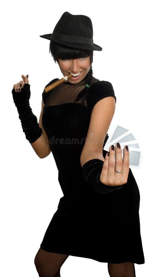 Aantrekkelijke meisjesspeelkaarten stock afbeelding