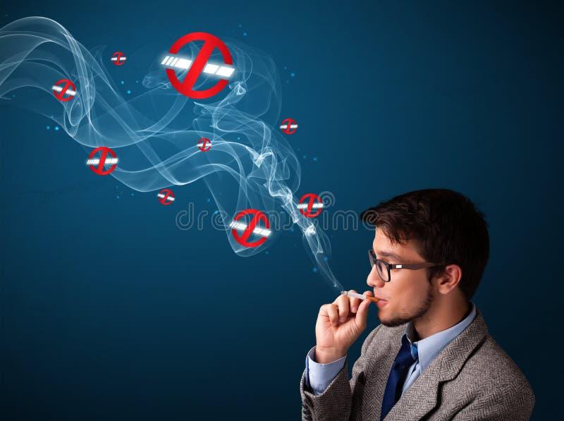 Download Aantrekkelijke Mens Die Gevaarlijke Sigaret Roken Stock Foto - Afbeelding bestaande uit idee, illustratie: 39101898