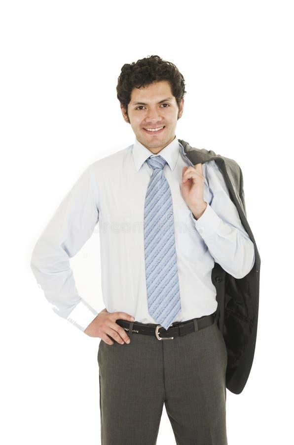 Aantrekkelijke mens die overhemd en het blauwe band stellen dragen stock foto's
