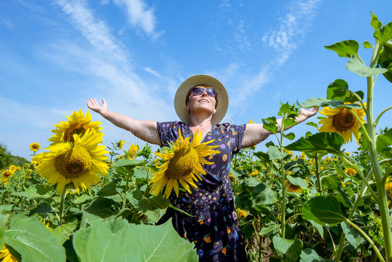 Aantrekkelijke middenleeftijdsvrouw in strohoed met wapens uitgestrekt op zonnebloemgebied, het vieren vrijheid Het positieve emo stock fotografie