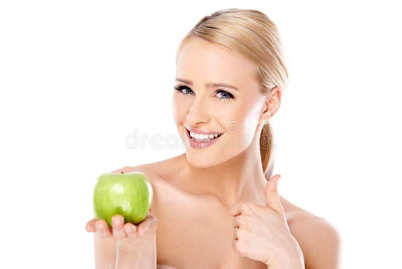 Aantrekkelijke Naakte Vrouwenholding Groen Apple stock foto