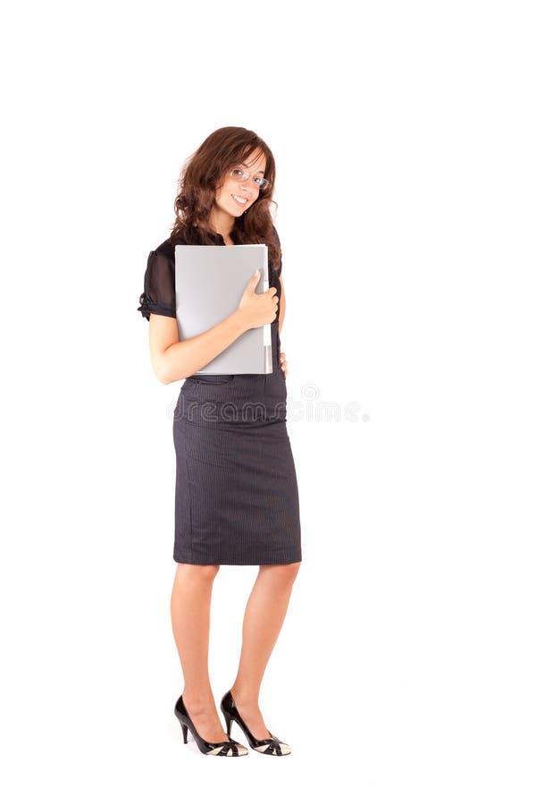 Aantrekkelijke onderneemster die op wit wordt geïsoleerdr stock fotografie
