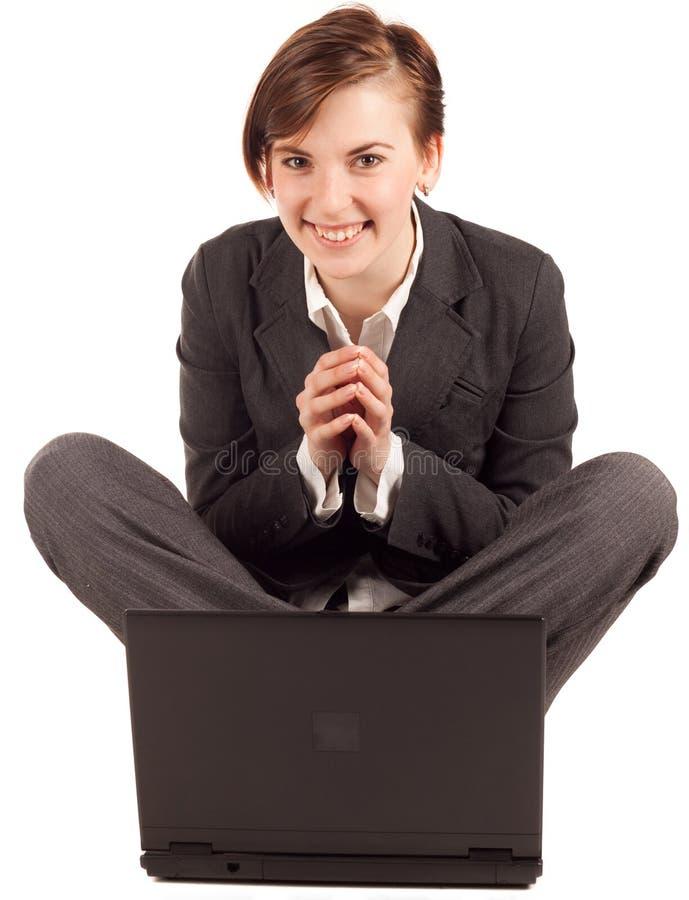 Aantrekkelijke onderneemster met computer royalty-vrije stock foto